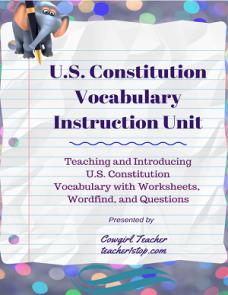 US Constitution Vocabulary Unit